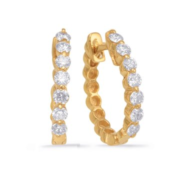 Yellow Gold Oval Earring