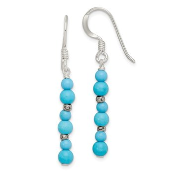 Sterling Silver Howlite /Recon. Magnesite Shepherd Hook Earrings