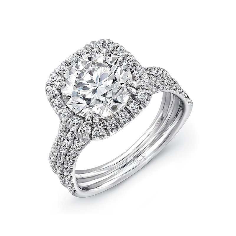 Uneek Fine Jewelry Uneek Round Diamond Engagement Ring with Cushion-Shaped Halo and Pave Triple Shank, in 14K White Gold