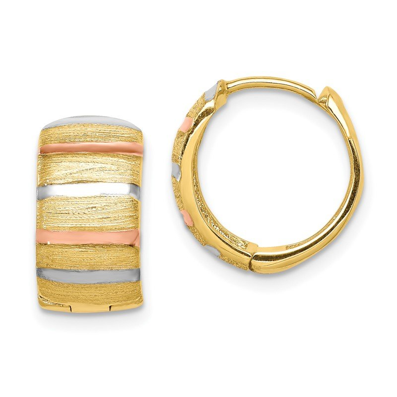 Quality Gold 14K with White & Rose Rhodium Hoop Earrings
