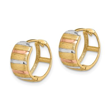 14K with White & Rose Rhodium Hoop Earrings