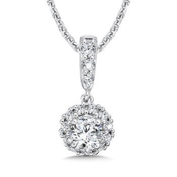 Diamond Round Halo Pendant with Diamond Bale in 14K White Gold (1/4 ct. tw.)