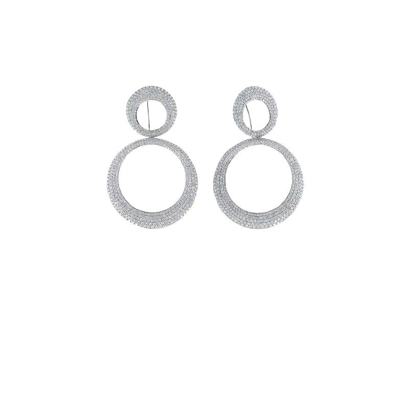 Roberto Coin 18Kt White Gold Drop Earrings With Diamonds