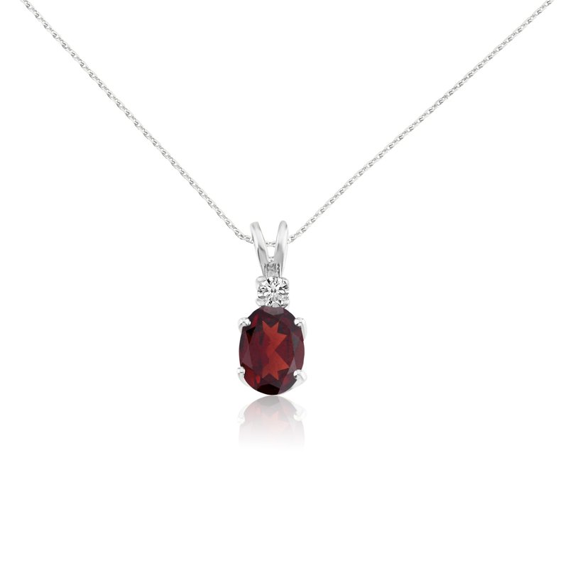 Color Merchants 14k White Oval Garnet and Diamond Pendant