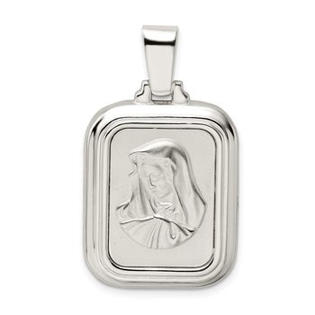 Sterling Silver Satin & Polished Mary w/Hail Mary Prayer Pendant