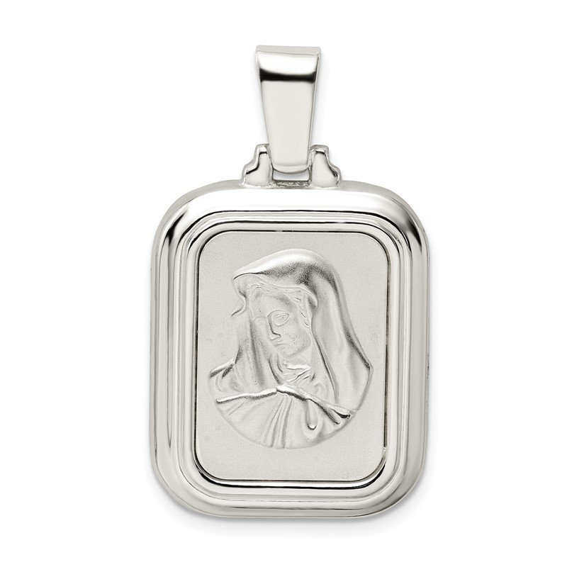 Quality Gold Sterling Silver Satin & Polished Mary w/Hail Mary Prayer Pendant