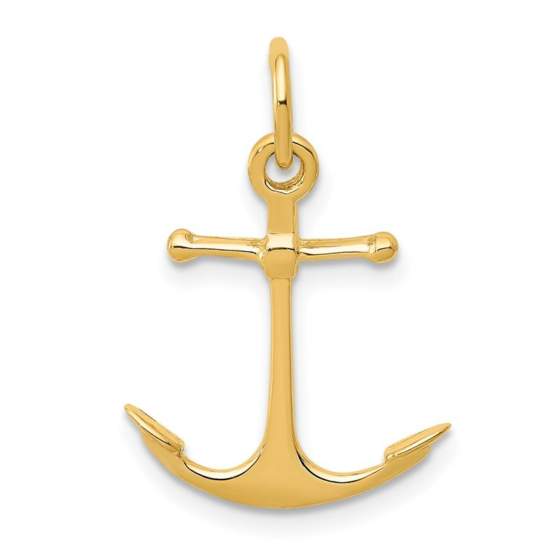 Quality Gold 14K 3D Anchor Charm