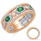 S. Kashi  & Sons Rose & White Gold Emd & Dia Ring