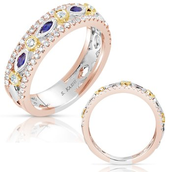 Sapphire & Tri Color Wedding Band