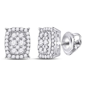 14kt White Gold Womens Round Diamond Vertical Rectangle Cluster Earrings 1/2 Cttw