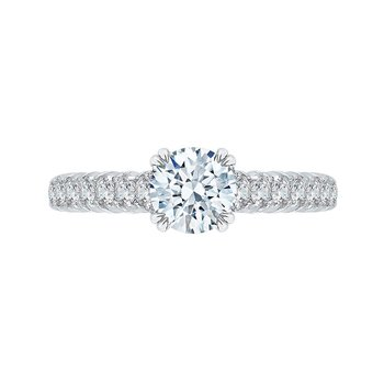 14K White Gold Euro Shank Round Diamond Cathedral Style Engagement Ring (Semi-Mount)