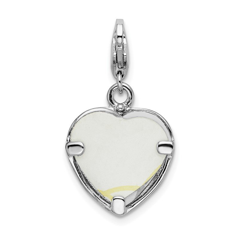 Quality Gold Sterling Silver RH Polished Heart Frame w/Lobster Clasp Charm