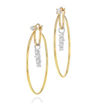 Yellow gold, white gold and diamond long Enchanted drop closed hoop earrings