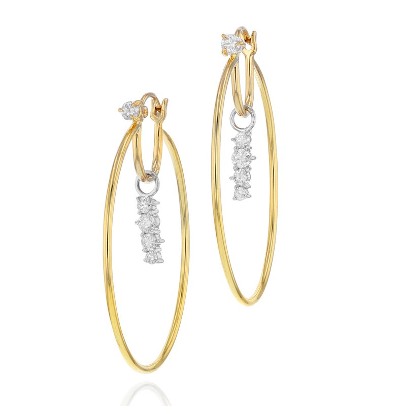 Phillips House Yellow gold, white gold and diamond long Enchanted drop closed hoop earrings