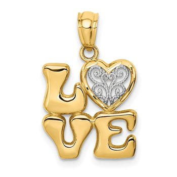 14k w/Rhodium Polished Love w/Filigree Heart Pendant