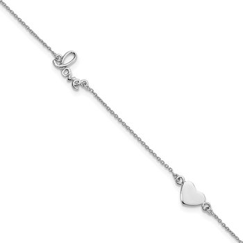 Sterling Silver Rhodium-plated Heart and LOVE 9in Plus 1in ext. Anklet