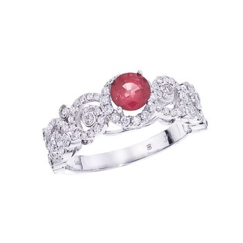 14k White Gold Ruby/ Diamond  Ring
