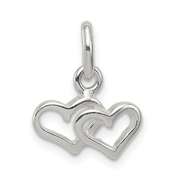 Sterling Silver Polished Double Heart Charm