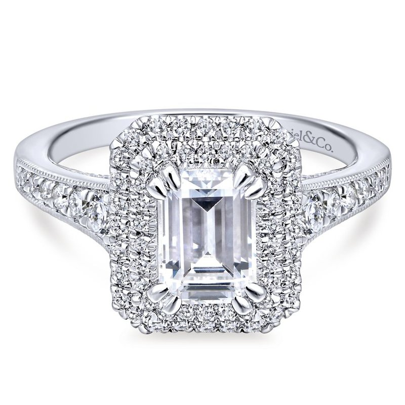 Gabriel & Co. - Bridal Emerald Cut Double Halo Engagement Ring