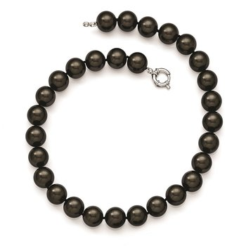 Sterling S Majestik Rh-pl 14-15mm Blk Imitat Shell Pearl Hand Knotted Neckl