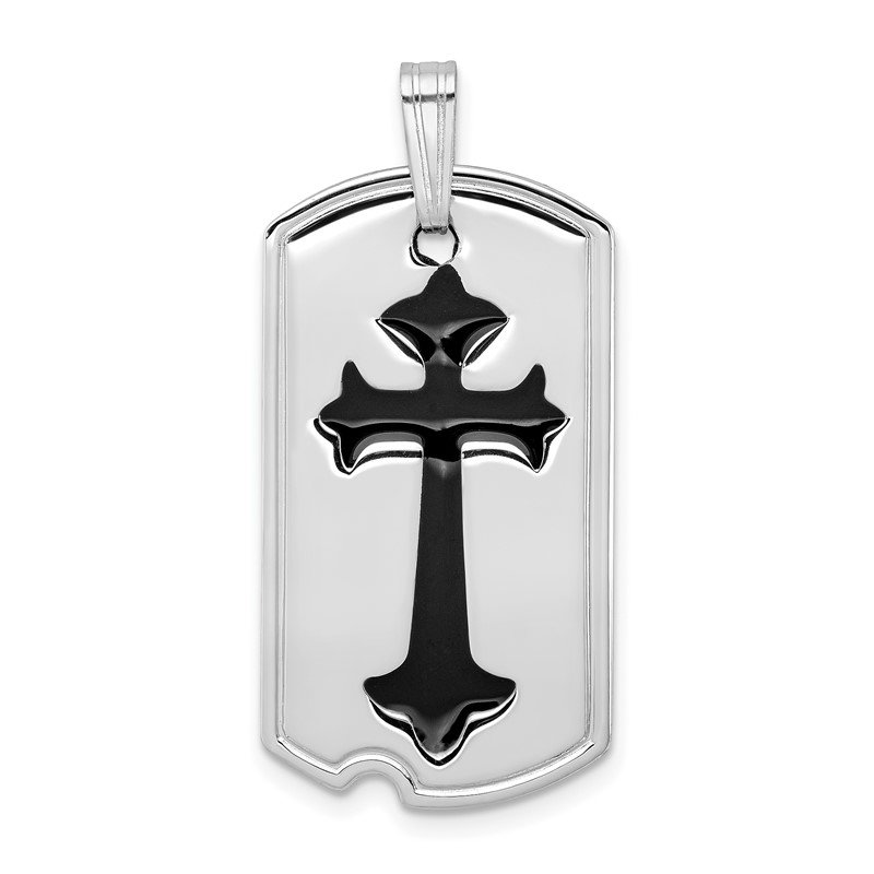 Quality Gold Sterling Silver Rhodium-plated Polished Black Epoxy Cross Dog Tag Pendant