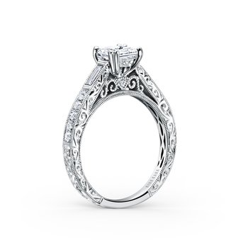 Engraved Filigree Diamond Engagement Ring