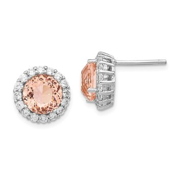 Cheryl M SS Rhod-plated CZ and Simulated Morganite Post Earrings