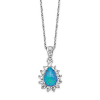 Cheryl M Sterling Silver Rhod-plated CZ & Created Blue Opal 18.5in Necklac