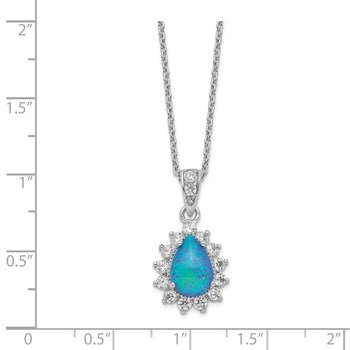 Cheryl M SS CZ Lab Created Blue Opal Necklace