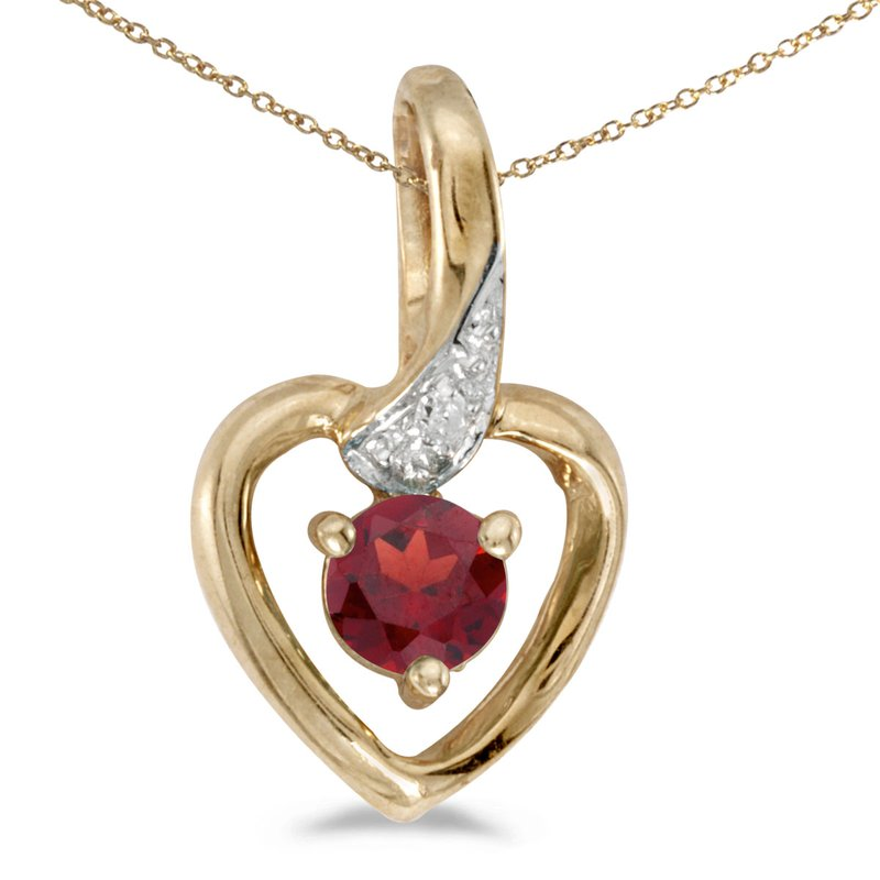 Color Merchants 14k Yellow Gold Round Garnet And Diamond Heart Pendant