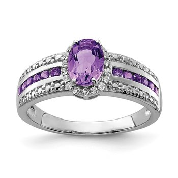 Sterling Silver Rhodium-plated Polished Amethyst & White Topaz Ring