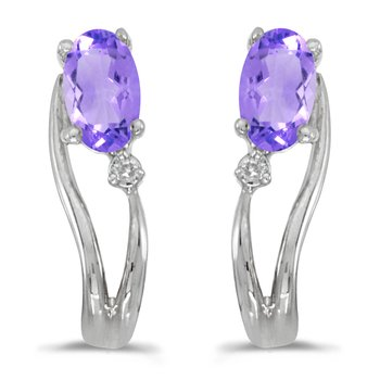 14k White Gold Oval Tanzanite And Diamond Wave Earrings