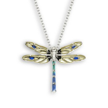 Yellow Dragonfly Necklace.Sterling Silver-White Sapphire - Plique-a-Jour
