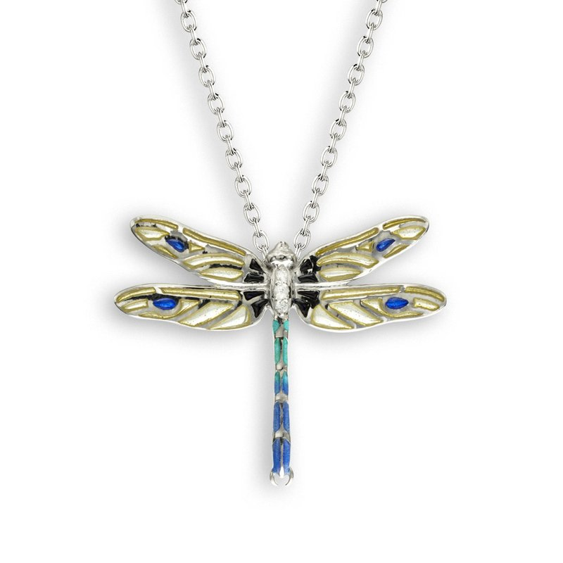 Nicole Barr Designs Yellow Dragonfly Necklace.Sterling Silver-White Sapphire - Plique-a-Jour