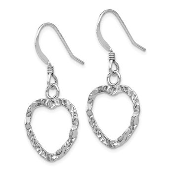 Leslie's Sterling Silver Textured Heart Shepherd Hook Dangle Earrings