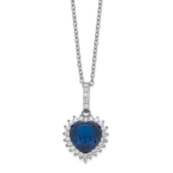 Cheryl M Sterling Silver Heart Lab created Dark Blue Spinel & CZ 18in Neckl