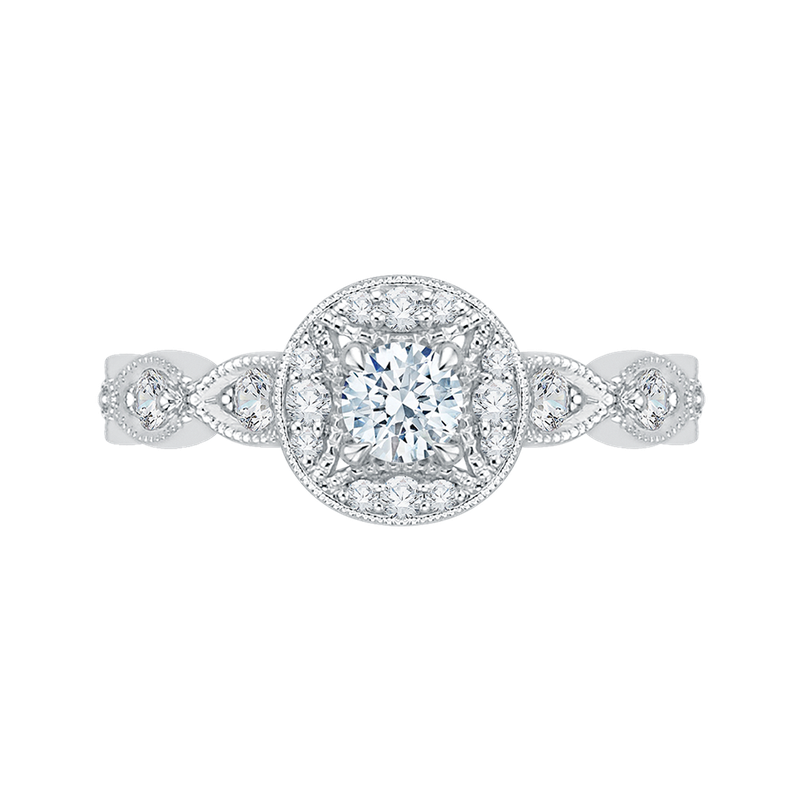 Promezza 14K White Gold Round Cut Diamond Halo Engagement Ring