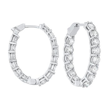 14K White Gold Prong Diamond Hoop Earrings (6 ct. tw.) SI3 - G/H