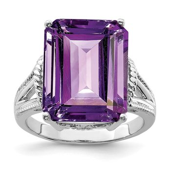 Sterling Silver Rhodium-plated Checker-Cut Amethyst Ring