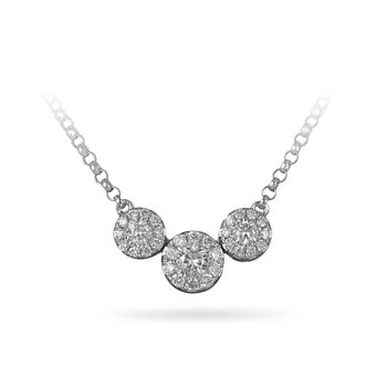 14K WG Diamond Cluster Necklace