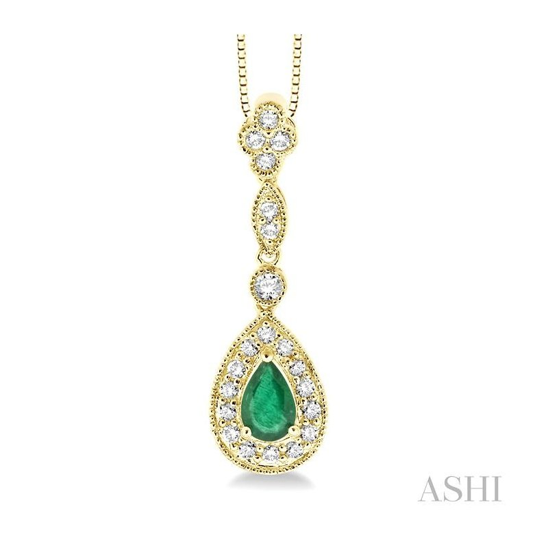 Gemstone Collection pear shape gemstone & diamond pendant
