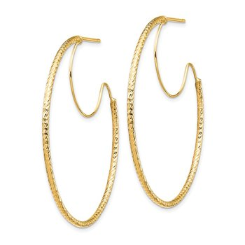 14K 1.5x40mm D/C with Polished wire Hoop Earrings