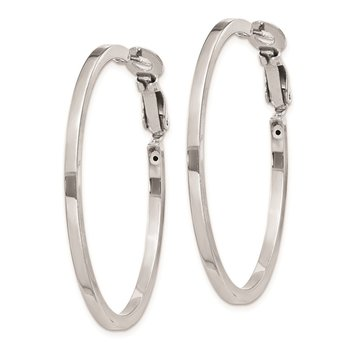 Sterling Silver RH-plated 2x40mm Omega Back Hoop Earrings