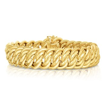 "14K Gold 8.25"" Polished 18mm Americana Bracelet"