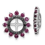 Quality Gold Sterling Silver Rhodium Rhodolite Garnet & Black Sapphire Earring Jacket