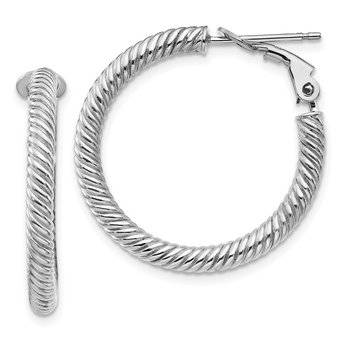 10k 3x20 White Gold Twisted Round Omega Back Hoop Earrings