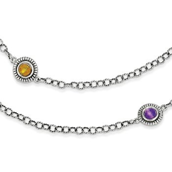 Sterling Silver w/14k Amethyst/Blue Topaz/Citrine Necklace