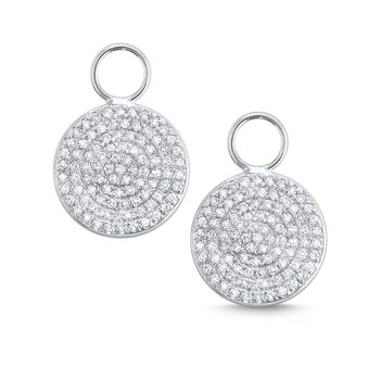 Pave Diamond and 14k Gold Disc Earring Charms