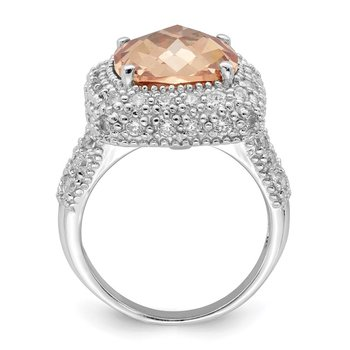 Sterling Silver Champagne & Clear CZ Ring