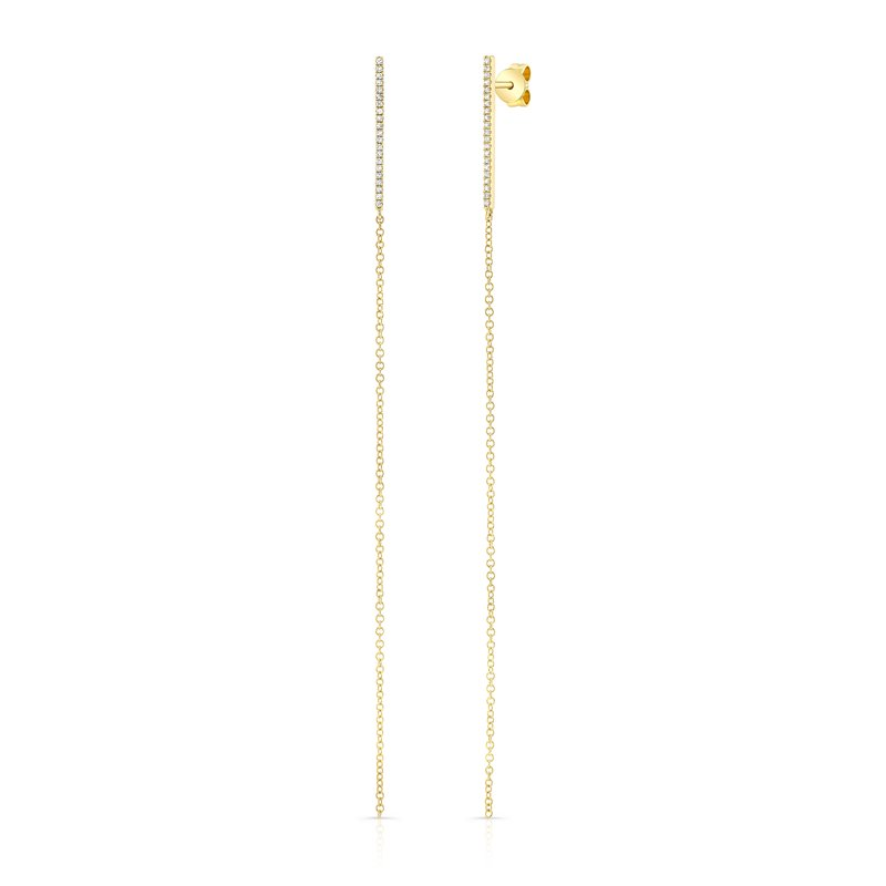 Robert Palma Designs Yellow Gold Diamond Bar Earrings With Drop Chain